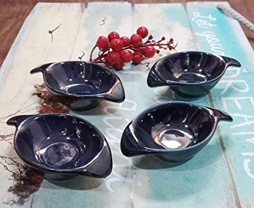 Your Style Stoneware Leaf Dip Sauce bowl / Serving Bowl, 30ml  Set of 4  Glossy Black