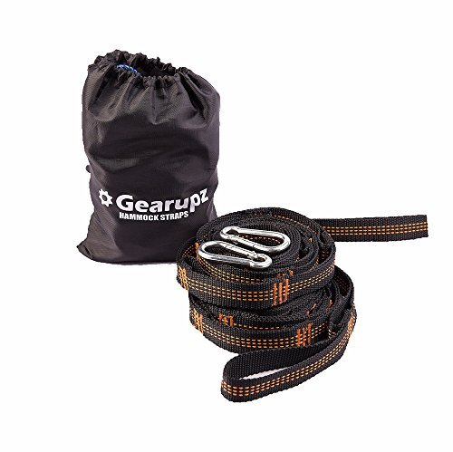 Gearupz Double Hammock for Patio Camping Travel [ Portable Parachute Nylon Fabric with Nylon Straps and Steel Carabiners ] (Hammock Straps (with 2 Carabiners)) (Expedition Hammock)