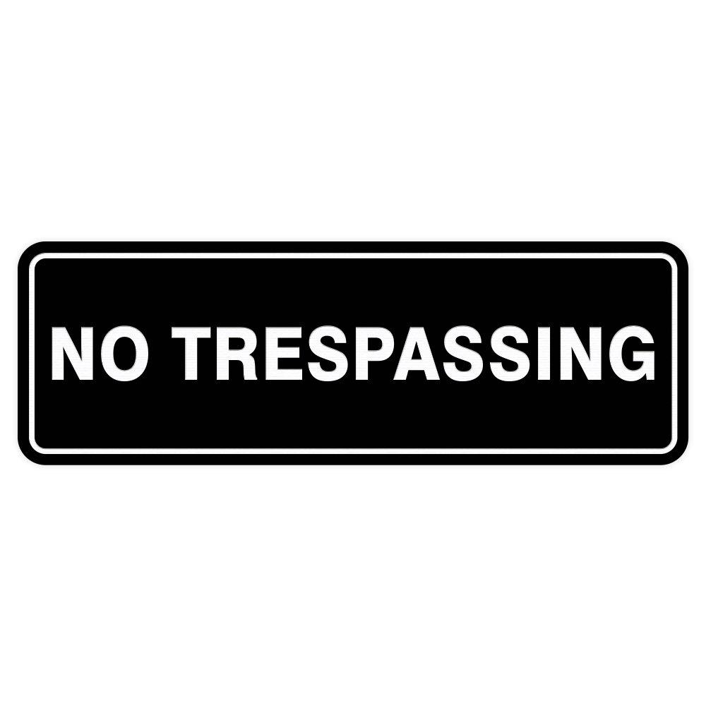 Standard NO TRESPASSING Door / Wall Sign - Black - Large