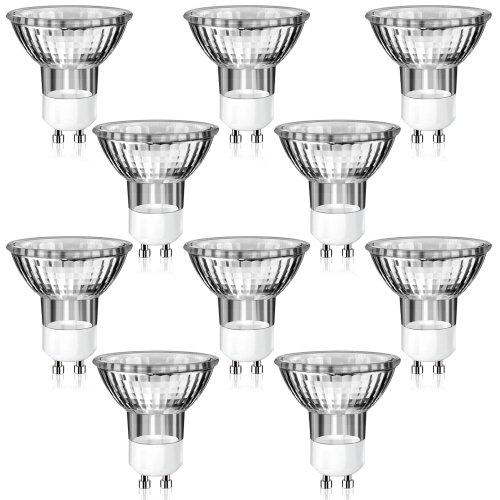 10er Pack GU10 Halogen Strahler in MR16-Bauform (warm-weiß, 230 Volt AC, 35 Watt, Lampe, Leuchtmittel, Haushaltspack, 230V, 35W)
