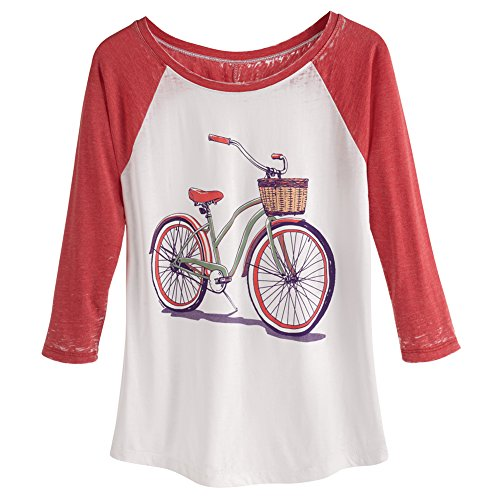 CATALOG CLASSICS Women's T-Shirt - Retro Bicycle Ladies' 3/4 Sleeve Baseball Tee - 2X