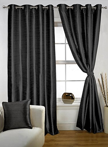 LUSHOMES Black Twinkle Star Curtain with Blackout Lining for