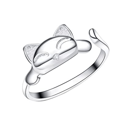 Sweetiee 925 Sterling Silver Kitten Ring Silver Size Q Adjuatble for Woman rpYBG