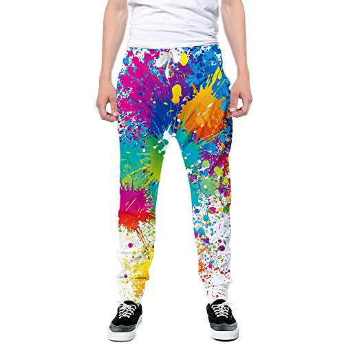 Any Time Chino Pant (Goodstoworld Unisex 70's Splatter Painting Joggers Pants White Graffiti Design Leisure Comfy Sports Sweatpant Trousers)