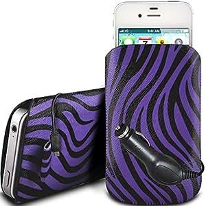 N4U Online - Nokia Asha 503 Dual Sim protección PU Zebra Diseño deslizamiento cordón tirador de la cremallera en la caja de la bolsa con cierre rápido y CE Cargador de coche - Purple