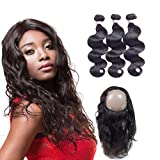 RED QUEEN 360 Lace Frontal With Bundles Brazilian Body Wave 3 bundles with 360 Full Lace Frontal (22x4x2) Free Part 100% Unprocessed Human Hair Extensions 20 22 24 + 16 inch