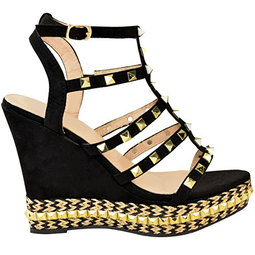Mode Dorstige Dames Hoge Hak Wig Partij Sandaal Stud Kooi Gladiator Jute Draad Maat Zwart Faux Suede