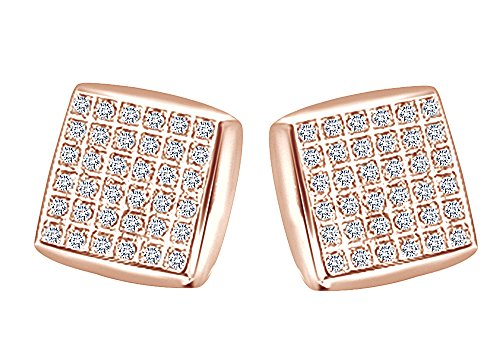 Round Cut White Natural Diamond Hip Hop Cluster Stud Earrings 14K Solid Rose Gold (0.34 Cttw) by Wishrocks