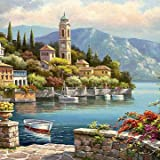 Decorative Painting Single Paintings - 40X50CM Frameless Romantic Harbour Canvas Linen Canvas Oil Painting Paint By Numbers - 1 x 40X50CM Frameless Canvas Painting DIY Suit (Packe