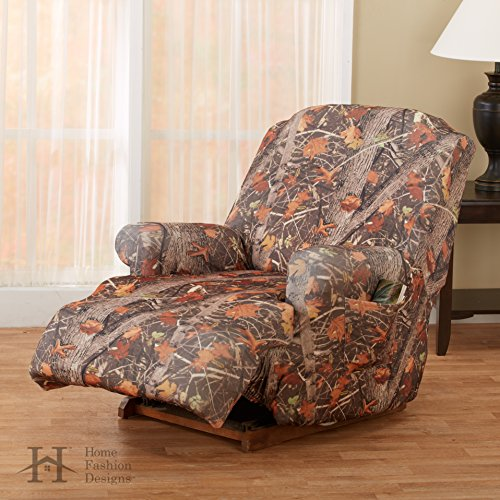 (Kings Camo Woodland Shadow Printed Strapless Slipcover. Form Fit, Slip Resistant, Stylish Furniture Shield / Protector. By Home Fashion Designs Brand. (Recliner))