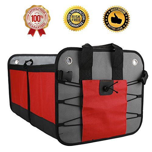 Car Trunk Organizer,Foldable Grocery Storage Container Collapsible and Packable with 3 Compartments Side Pockets for Car Auto Truck Minivan or SUV Rugged