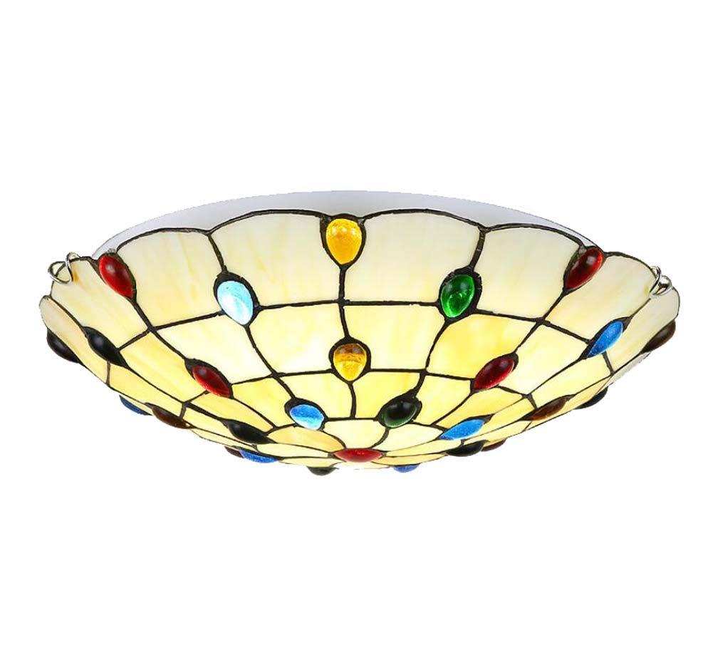 LEDティファニースタイルの天井の光の手は、ステンドグラスの天井のランプを飾ったリビングルームのベッドルームの通路の装飾のペンダント天井のライト (色 : Two-color light, サイズ : 30cm) 30cm Two-color light B07G46TVX4