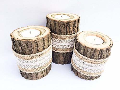 Band Candle Holder - Tiered Real Log Wood Tea Light Candle Holders With Burlap and Lace Band Set of 3