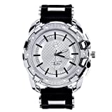 Men Techno Pave Hip Hop Iced Out Bling Diamond Silver Tone Silicone Watches WR 8344 S