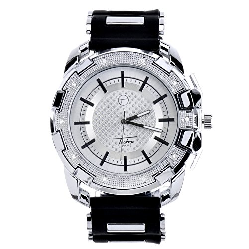 Men Techno Pave Hip Hop Iced Out Bling Diamond Silver Tone Silicone Watches WR 8344 - Iced Watch Tone Out