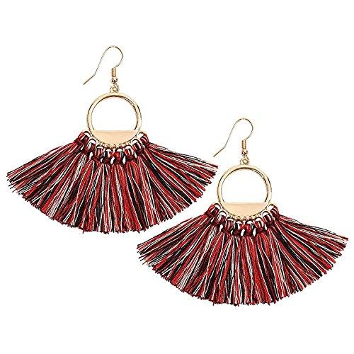 Womens Bohemian Tassels Earring Hoop Dangle Ethnic Earrings Pierces Tassel Dangle Earrings