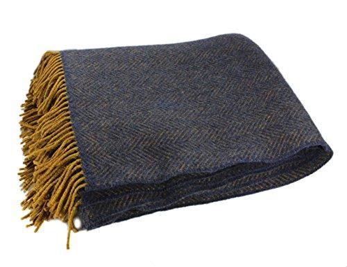Biddy Murphy Merino Wool Blanket Irish Merino Wool & Cashmere Navy Throw Blanket Wool Herringbone 54