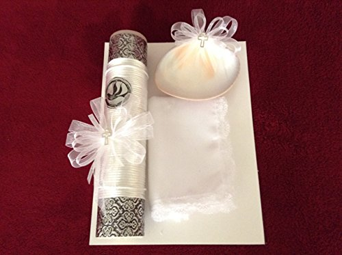 - Christening Baptism White Embossed Medallion Candle Set.
