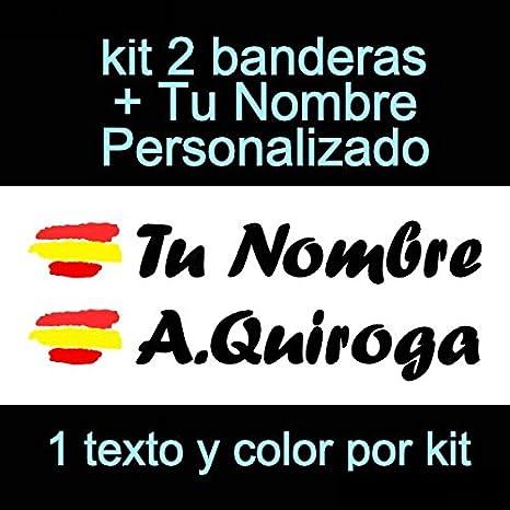 Vinilin Pegatina Vinilo Bandera España + tu nombre - Bici, Casco, Pala De Padel, Monopatin, Coche, etc. Kit de dos Vinilos (Negro): Amazon.es: Deportes y aire libre