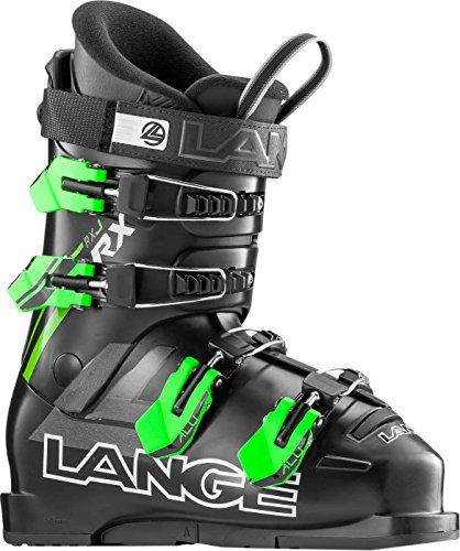 Black Kids Ski Boots - Lange RXJ Ski Boot - Kids' Black/Green, 25.5
