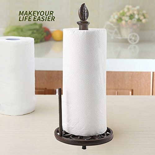 Vintage Metal Paper Towel Holder Brown Cast Iron Roll Paper Towel Stand for Kitchen Bathroom Home Decor by JOGREFUL