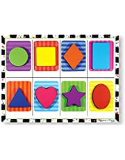 Melissa & Doug Shapes Chunky Puzzle, Preschool, Chunky Wooden Pieces, Full-Color Pictures, 8 Pieces, 30.48 cm H x 27.94 cm W x 2.286 cm L