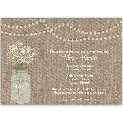 Mason Jar, Bridal Shower, Invitations, Burlap, White, Flowers, Wedding, Lights, Rustic, 10 Printed Invites with White Envelopes, FREE Shipping, Custom, Burlap Mason Jar