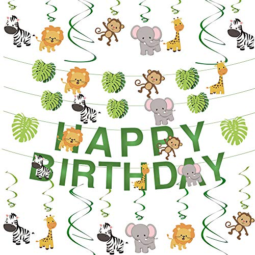 Cieovo Jungle Animals Party Hanging Swirl and Jungle Animals Leaves Happy Birthday Banner Decoration Set Green Safari Party Forest Animal Theme Supplies for Baby Shower Kid's Birthday Party]()