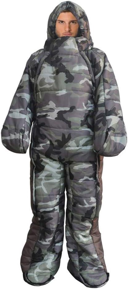Saco de dormir port/átil para acampar para adultos con pies y mangas traje de dormir a prueba de viento c/álido e impermeable para acampar bolsa de compresi/ón incluye,XL excursionismo y aire libre