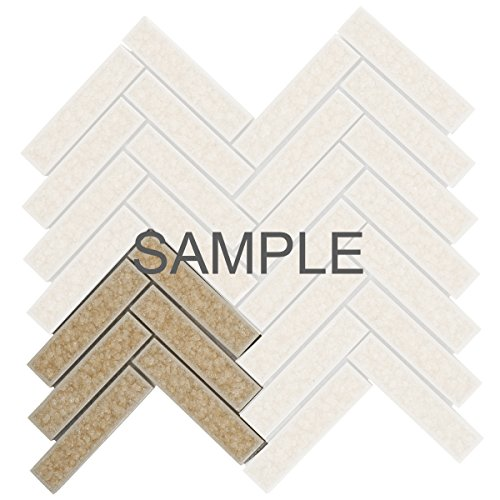 Modket TDH189MO-S Sample Beige Cream Crackled Glass Mosaic Tile Herringbone Pattern Backsplash
