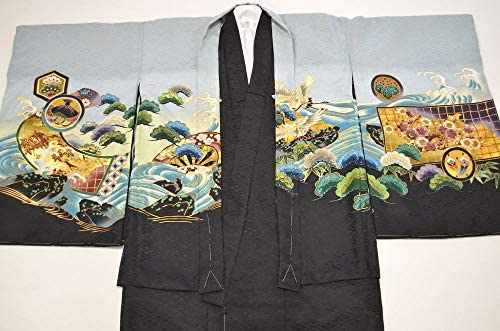 【特価品】男の子 七五三 アンサンブル 袴 セット ブルーグレー 鷹柄 5歳用 ngs-ansanburu-012