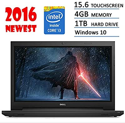 "2016 Newest Dell Inspiron Flagship 15.6"" Premium High Performance touchscreen Laptop Intel i3-5005U 4G 1TB HDD HDMI DVD MaxxAudio Windows 10 Black"