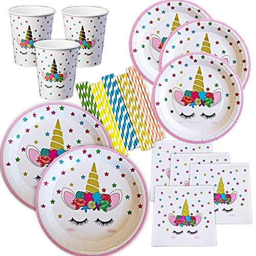Unicorn Plates Napkins and Cups with Gold Foil Serves 24; 24 Dinner Plates 24 Dessert Plates 25 Luncheon Napkins and 24 Cups and Straws for Birthday Party Supplies Baby Shower Decorations!