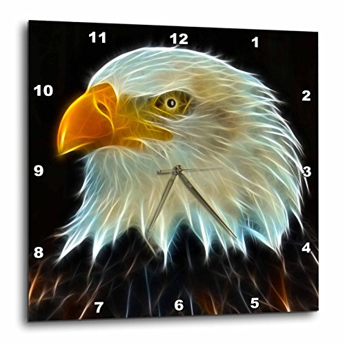 3dRose DPP_97853_3 Fractal Color Outlined Bald Eagle-Wall Clock, 15 by 15-Inch