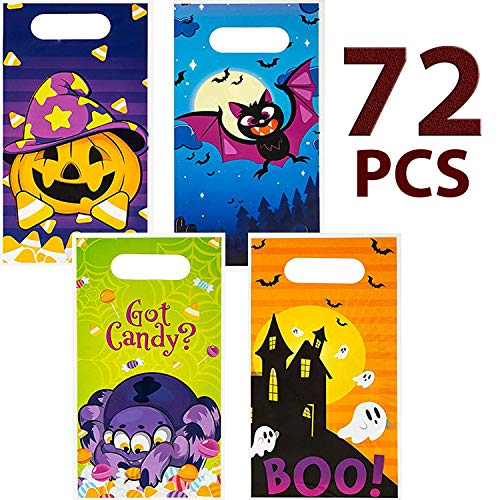 Flash Cracker Halloween (JOYIN 72 Pieces Halloween Trick Or Treat Bags in 4 Designs for Trick-or-Treating, Halloween Party Favors, Event Party Supplies, Halloween Goodie)