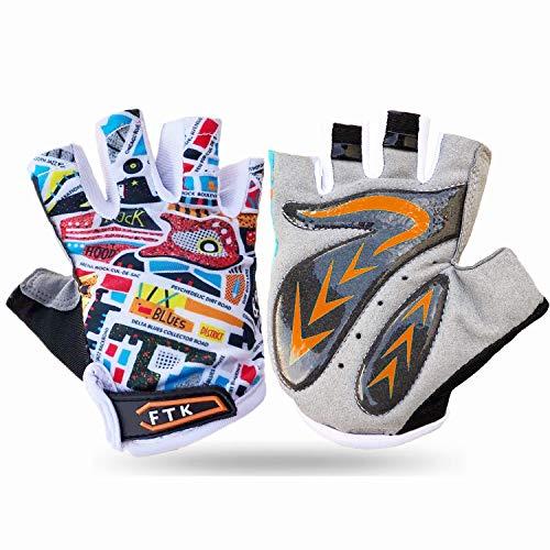 Cycling Gloves Kids Boys Girls Half Finger Fingerless Grip Value Pair, Road Mountain Bike Glove Durable Soft Comfortable…