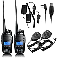 TYT TH-UV8000D 2Pcs Ultra-high Output Power 10W Amateur Handheld Transceiver, Dual Band Dual Display Dual Standby Two Way Radio+2x BF-S112 Mic+Program Cable+2x 10W Car Charger Cable -Lightwish