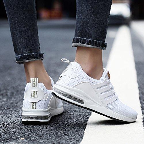tqgold Herren Damen Sportschuhe Laufschuhe Bequem Atmungsaktives Turnschuhe Sneakers Gym Fitness Leichte Schuhe Weiß