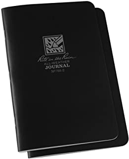 """product image for Rite in the Rain Weatherproof Stapled Notebook, 4 5/8"""" x 7"""", Black Cover, Journal Pattern, 2 Pack (No. 791-2)"""