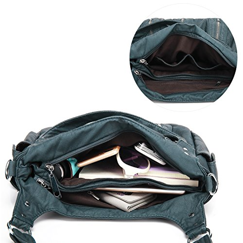 Scarleton Front 3 Zipper Blue Washed Shoulder H1292 Bag wfwR5qr