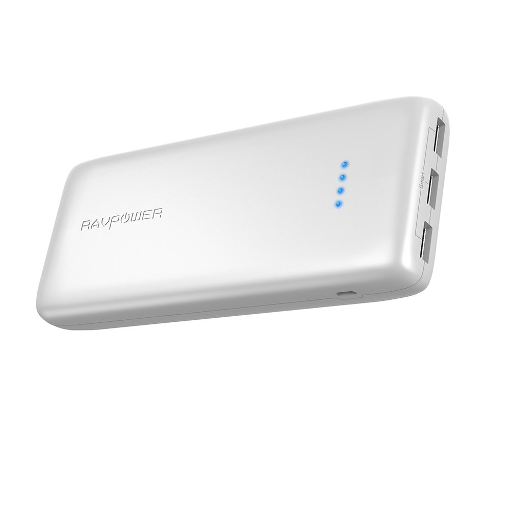 Portable Charger RAVPower 22000mAh Power Bank 22000 Battery Pack Charger 5.8A Output 3-Port (2.4A Input, Triple iSmart 2.0 USB Ports, Li-Polymer Battery) Battery Charger for Smartphone Tablet-White