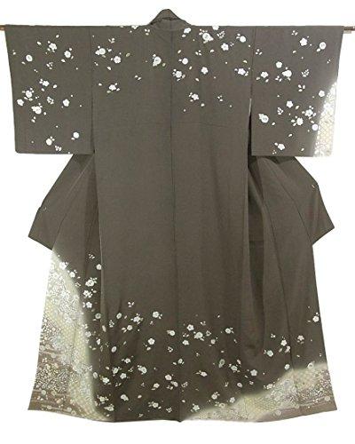 リサイクル 着物 訪問着 松皮菱に辻が花調の花模様 刺繍 正絹 袷 裄62cm 身丈165cm