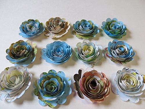 Bon Voyage Bouquet (12 Piece Scalloped World Atlas Roses, Paper Flowers Set, Travel Theme, Floral Table Decor 1.5