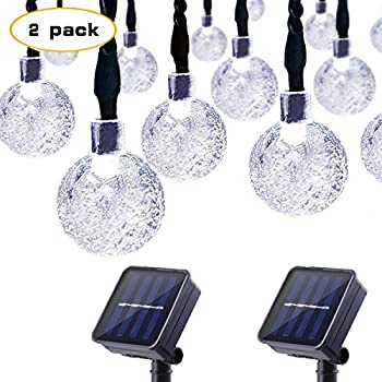 Lalapao 2 Pack Globe String Lights Solar Powered Christmas Lights 30 LED 19.7ft Crystal Ball Fairy String Light for Outdoor Xmas Tree Garden Path Patio Home Lawn Holiday Wedding Decor Party (White)