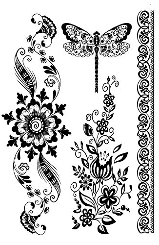 boho flower tramp stamp black lace temporary tattoo wholesale