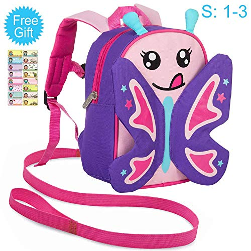 Toddler Backpack with Safety Harness Leash, 9.5″ Butterfly Bag