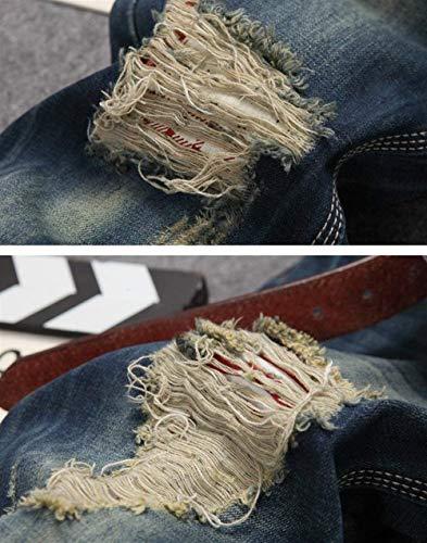 Pantaloni Especial Vintage Lavati Uomo Strappati Estilo Alla blau 928 Moda All'aperto Dritti Casual Da Jeans SzaUSqwr