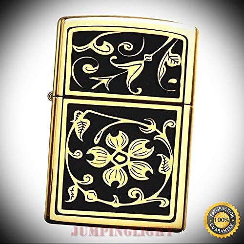 20903 Gold Floral Flush Windproof Brushed Brass and Black Classic Lighter - Premium Lighter Fluid (Comes Unfilled) - Made in USA!