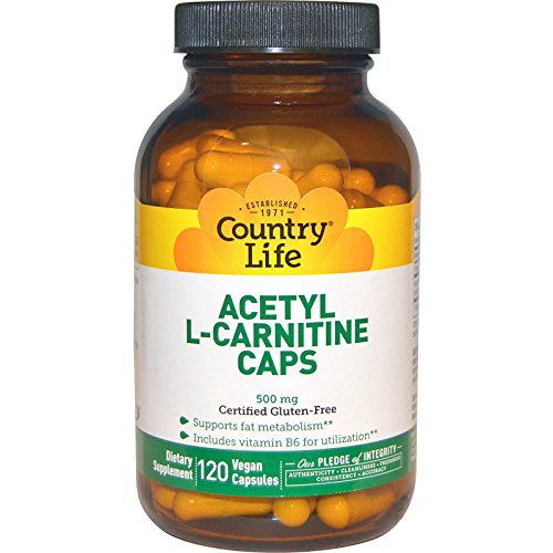 Country Life, Acetyl L-Carnitine Caps, 500 mg, 120 Veggie Caps - 3PC by Country Life