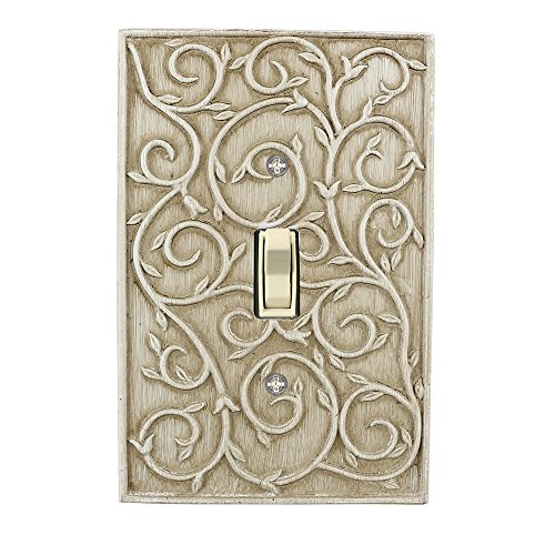 Meriville French Scroll 1 Toggle Wallplate, Single Switch Electrical Cover Plate, Weathered White ()